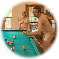 playing pool in the nude
