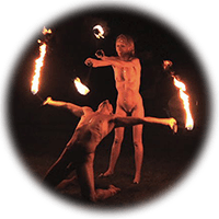 fire performers at Bare Oaks